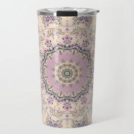 47 Wisteria Circle - Vintage Cream and Lavender Purple Mandala Travel Mug