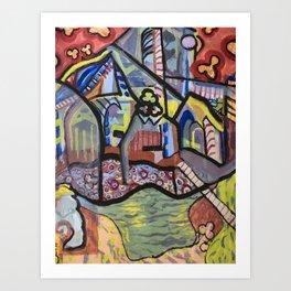The Church at Auvers a la Mela Art Print