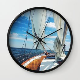 Sweet Sailing - Sailboat on the Chesapeake Bay in Annapolis, Maryland Wall Clock