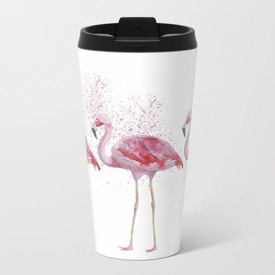Three Flamingos #society6 Metal Travel Mug