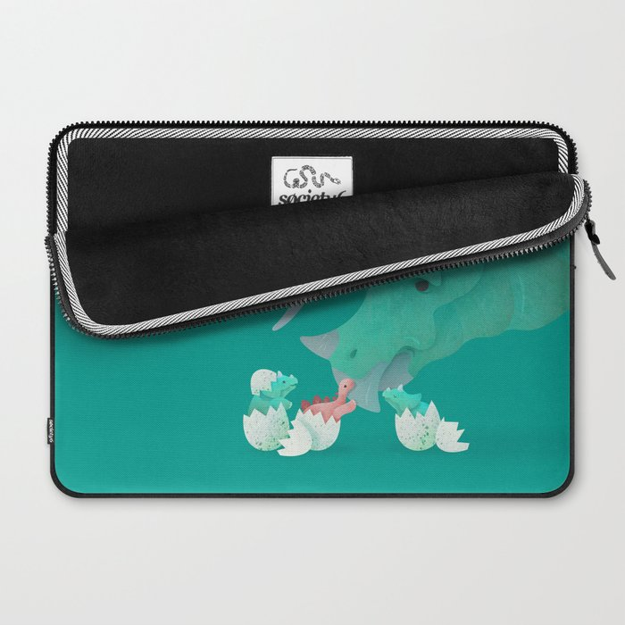 Triceratops Hugs by Ballsy Creative Laptop Sleeve