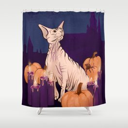 Halloween Sphynx - Candles and Pumpkins in Front of a Castle Shower Curtain
