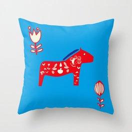 Dala Horse blue Throw Pillow