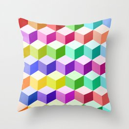 Cube Pattern Multicolored Throw Pillow
