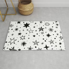 Star pattern on a white background Rug
