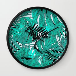 Tropical leaves background texture Wall Clock