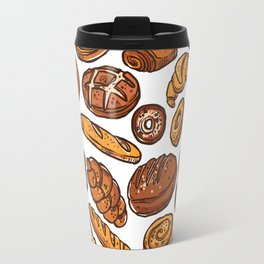 Bread Lovers. Croissant, Sandwich, French Loaf, Brown Bread, White Bread, Donuts, Cinnamon Roll Travel Mug