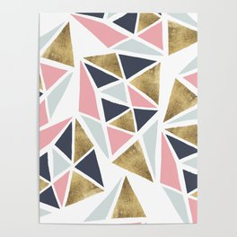 Modern geometrical pink navy blue gold triangles pattern Poster