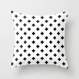 Black and White Swiss Cross Pattern Throw Pillow