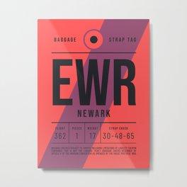 Luggage Tag E - EWR Newark USA Metal Print