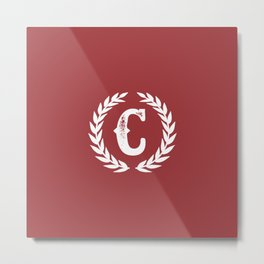 Rustic Red Monogram: Letter C Metal Print