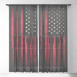 American flag Vintage Black Sheer Curtain