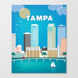 Tampa, Florida - Skyline Illustration by Loose Petals Canvas Print