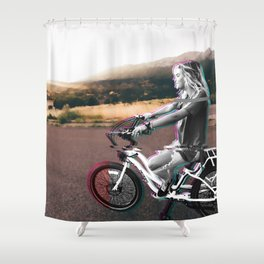 Glitching the ride Shower Curtain