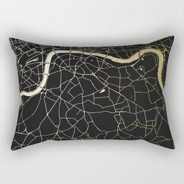 London Black on Gold Street Map Rectangular Pillow