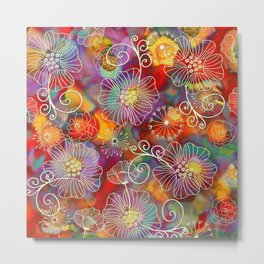 Floral Pattern on Painted Background Metal Print