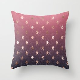 Modern Home Ombre Gold Unicorn Pattern Throw Pillow