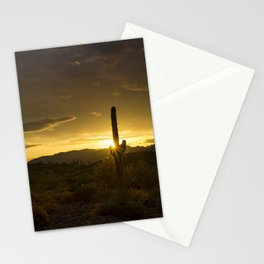 A Golden Saguaro Sunrise Stationery Cards
