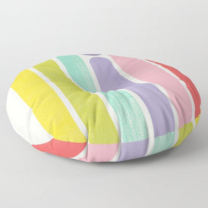 Rainbow Color Stripes Floor Pillow