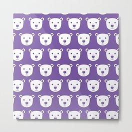 Cute Polar Bear Pattern (Purple) Metal Print