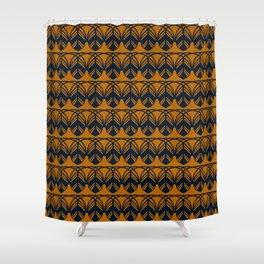 GATHER dark navy and mustard gold feather pattern Shower Curtain