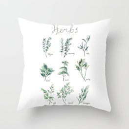 Herbs Botanical Illustration Throw Pillow