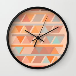 Muted Earth Tones Abstract Geometric Pattern Wall Clock