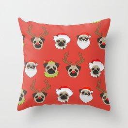 Xmas Pugs Throw Pillow