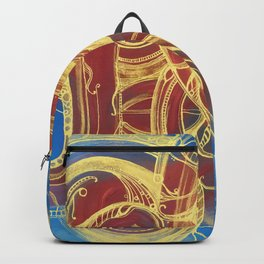 GOLDEN SWIRLING - CURLY GOLDEN LINES ON RED AND BLUE Backpack