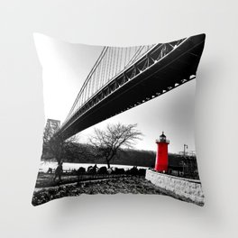 The Little Red Lighthouse - George Washington Bridge NYC Throw Pillow