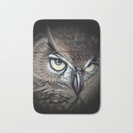 Owl drawing bird art eagle Bath Mat