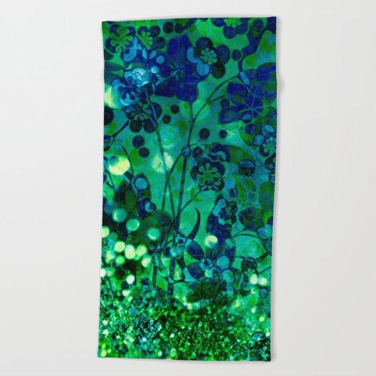 Bokeh floral Beach Towel