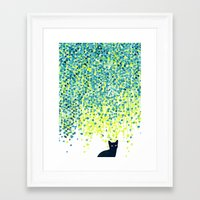 garden Framed Art Prints featuring Cat in the garden under willow tree by Picomodi