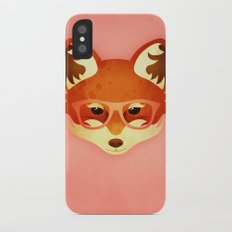 Hipster Fox: Rose iPhone X Slim Case