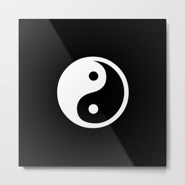 Yin Yang Black White Metal Print