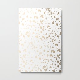 Luxe Gold Painted Dots on White Metal Print