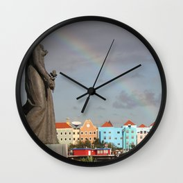 Rainbow over Willemstad Curaçao Wall Clock