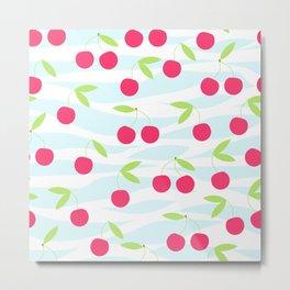 Seamless cherry pattern on striped Metal Print