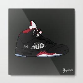 """Air Jordan V """"Supreme"""" black Metal Print"""