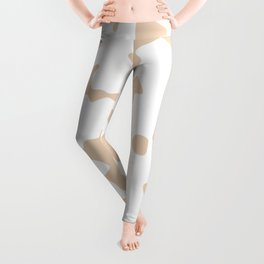 Large Spots - White and Pastel Brown Leggings