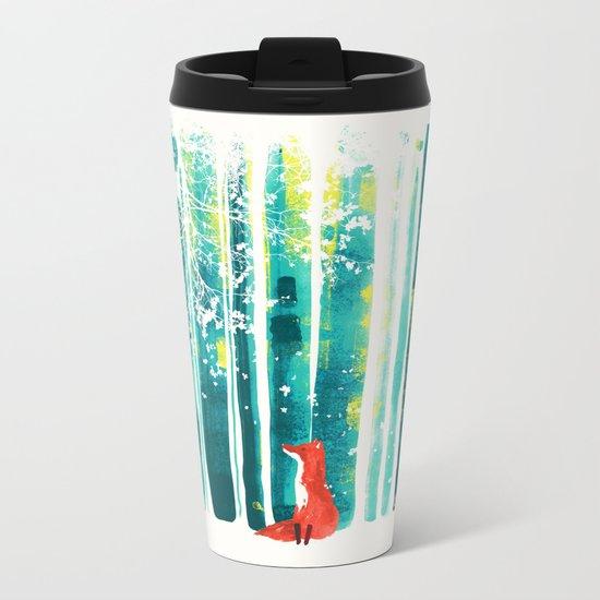 Fox in quiet forest Metal Travel Mug