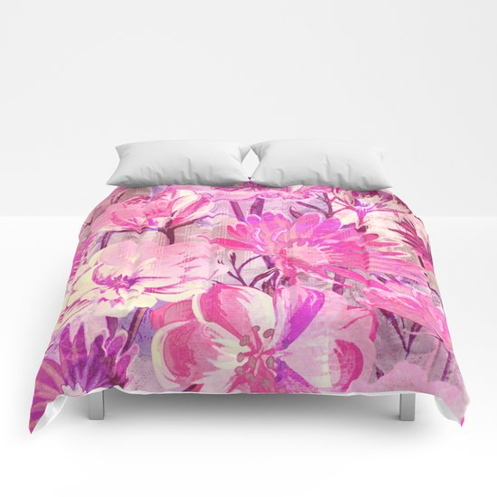 pink floral and words Comforters