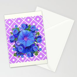 Lilac-White Pattern Blue Morning Glories Art Stationery Cards