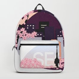 Seoul Tower with Cherry Blossoms Woodblock Style Souvenir Print Backpack