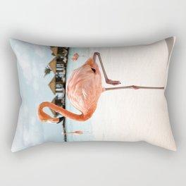 Travel Photography Art Print | Pink Flamingo Beach Photo | Aruba Island Tropical Summer Bird  Rectangular Pillow