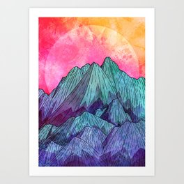 Sunset Sky Mounts Art Print