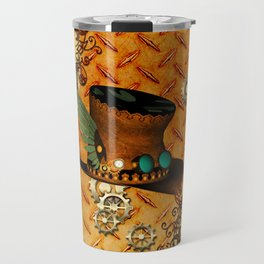 Steampunk, hat with clocks and gears Travel Mug