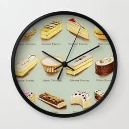 From the Book of Cakes, Variety of Fancies, Cakes, and Delicious Deserts  Wall Clock