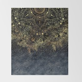 Stylish Gold floral mandala and confetti Throw Blanket