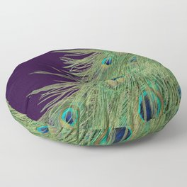 Peacock Feathers on Purple Background Floor Pillow